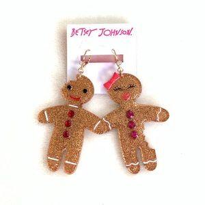 Betsy Johnson Holiday Gingerbread Couple Earrings